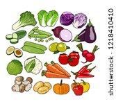 vegetables vector. healthy food ...   Shutterstock .eps vector #1218410410