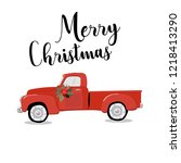 merry christmas and happy new... | Shutterstock .eps vector #1218413290