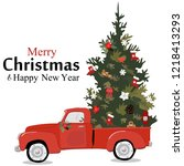 merry christmas greeting card... | Shutterstock .eps vector #1218413293