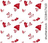 seamless christmas pattern with ... | Shutterstock .eps vector #1218417610