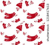 seamless christmas pattern with ... | Shutterstock .eps vector #1218417613