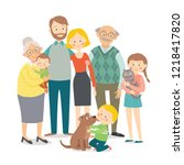 happy family. father  mother ... | Shutterstock .eps vector #1218417820