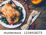 thanksgiving roasted chicken... | Shutterstock . vector #1218418273