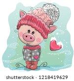 cute cartoon pig in a pink... | Shutterstock .eps vector #1218419629