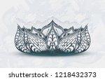hand drawn lotus flower on the... | Shutterstock .eps vector #1218432373
