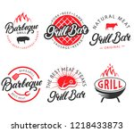 set of grill bar and bbq... | Shutterstock . vector #1218433873