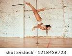 woman crosses her legs around...   Shutterstock . vector #1218436723