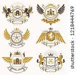set of vector vintage emblems... | Shutterstock .eps vector #1218444769