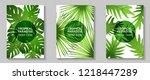 tropical paradise leaves vector ... | Shutterstock .eps vector #1218447289