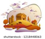 farm in scenic autumn landscape ...   Shutterstock .eps vector #1218448063