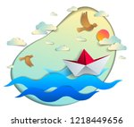 origami paper ship toy swimming ... | Shutterstock .eps vector #1218449656