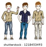 child young teen boys group... | Shutterstock .eps vector #1218453493