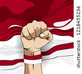 hand and indonesian flag for... | Shutterstock .eps vector #1218455236