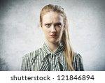 Blonde Girl Irritated