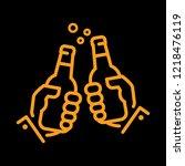 clinking beer bottles | Shutterstock .eps vector #1218476119