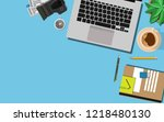 top down view of the working... | Shutterstock .eps vector #1218480130