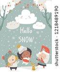 cartoon happy children enjoying ... | Shutterstock .eps vector #1218489190