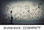 businesswoman starting a life... | Shutterstock . vector #1218489679