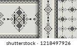 set of aztec geometric patterns.... | Shutterstock .eps vector #1218497926
