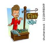 cartoon bearded chef cook... | Shutterstock .eps vector #1218498049