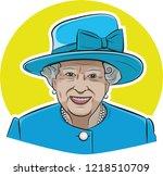 30 oct  2018. queen elizabeth... | Shutterstock .eps vector #1218510709