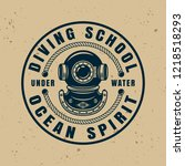 diving school round badge ... | Shutterstock .eps vector #1218518293