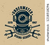 underwater diving school vector ... | Shutterstock .eps vector #1218518296