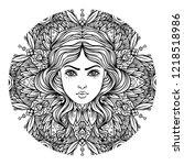 divine goddess. black and white ... | Shutterstock .eps vector #1218518986