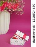 jaws in gift box near vase... | Shutterstock . vector #1218524680