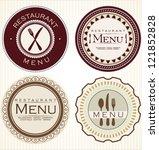 vintage restaurant stickers | Shutterstock .eps vector #121852828