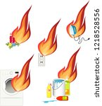 fire hazards in a house  set of ... | Shutterstock .eps vector #1218528556