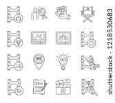 film industry linear icons set. ... | Shutterstock .eps vector #1218530683