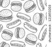 Doodle Style Hamburger And Hot...