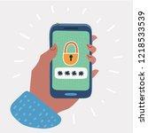 smartphone unlocked... | Shutterstock .eps vector #1218533539