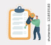 checklist clipboard. smiling... | Shutterstock .eps vector #1218535183