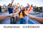 group of friends spending time... | Shutterstock . vector #1218536620