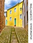 picturesque cobbled street in... | Shutterstock . vector #1218547546