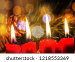 close up of red candle light...   Shutterstock . vector #1218553369
