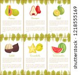 papaya and salak posters set... | Shutterstock .eps vector #1218555169