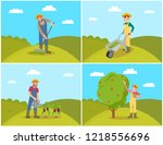farmer with compost trolley ... | Shutterstock .eps vector #1218556696