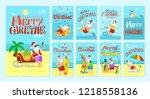 merry christmas santa claus... | Shutterstock .eps vector #1218558136