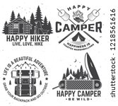 happy camper. vector. concept... | Shutterstock .eps vector #1218561616