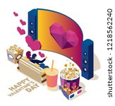 watch the movie online with a... | Shutterstock .eps vector #1218562240