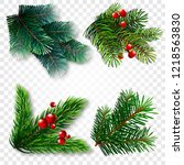 collection of fir branches. set ... | Shutterstock .eps vector #1218563830