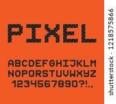 pixel style font. 8 bit game...   Shutterstock .eps vector #1218575866