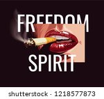 freedom slogan with lips and... | Shutterstock .eps vector #1218577873