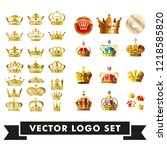gold crown of the king  and 3d... | Shutterstock .eps vector #1218585820