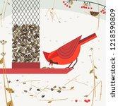 cute red northern cardinal bird ...   Shutterstock . vector #1218590809