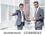 businessman discussing with a...   Shutterstock . vector #1218608263