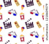 cinema seamless pattern. could... | Shutterstock .eps vector #1218609079